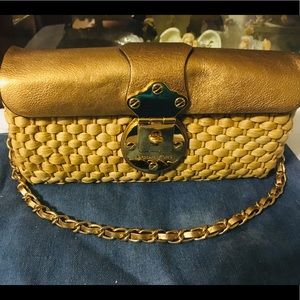 Michael Kors Leather Straw Chained Shoulder Bag